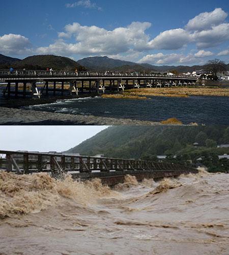 上は普段の渡月橋、下は水没寸前の渡月橋。