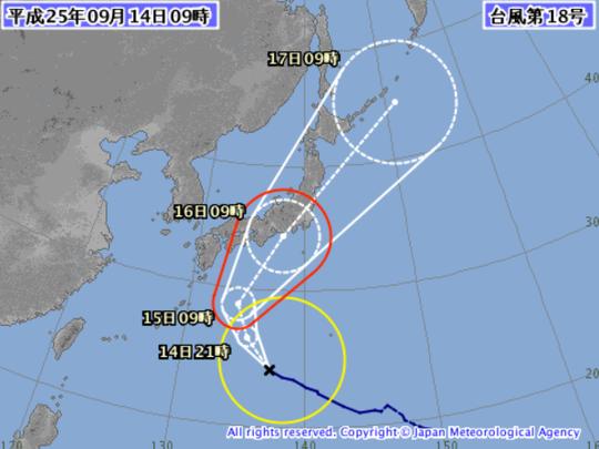 台風18号、現在襲来中・・・