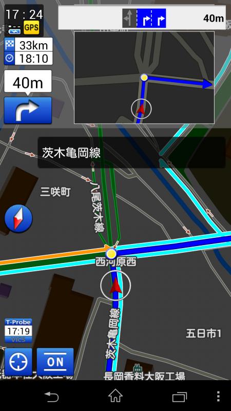 右折場所の表示もわかりやすい。混雑状況も色分けされている。