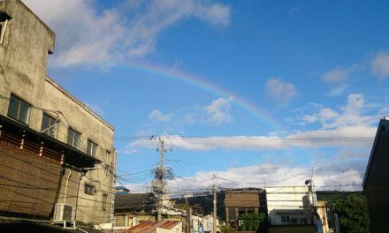 嵐の翌日、よく晴れた空に虹が出た