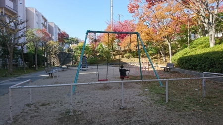 発表会後、公園で一人反省を行う長男